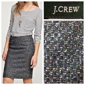 J.Crew Moss Evergreen Tweed Pencil Skirt Size 4